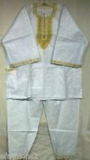 3Pcs Men Brocade Dashiki Pant Suit  African Clothing boho White Gold Free Size
