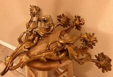 Vintage Pair French Rococo 3 Arm Metal Brass Candelabra Wall Sconces Louis XV