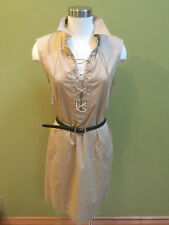 Ralph Lauren Womens Lace Up Beige Tan Cotton Twill Dress Shirt Size Small
