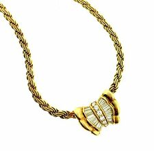 Diamond Pendant Necklace with Rounds and Baguettes in 18k Yellow Gold - HM1619