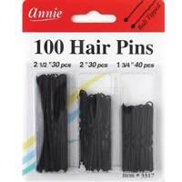 """ANNIE 100 HAIR PINS COMBO BLACK 1-3/4"""", 2"""", & 2-1/2"""" #3317 BALL TIPPED"""