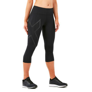 2XU Womens Run Mid Rise 3/4 Compression Tight Black Sports Running Breathable