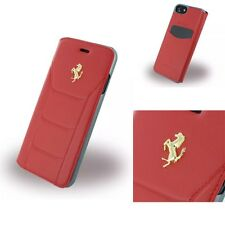 Original Ferrari 488 Gold Echt Leder Book Cover Case Handytasche Für iPhone 7-8