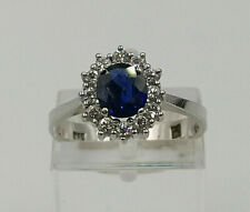 Vintage 18ct White Gold Sapphire & Diamond Cluster Ring.  Goldmine Jewellers.