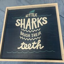 Pottery Barn Kids Little Sharks Brush Their Teeth PLAQUE WALL Art Bath Bathroom