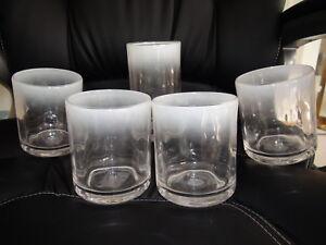 Set of 5 Martha Stewart frosty acrylic Juice Glasses Clear Diameter 3,5 in
