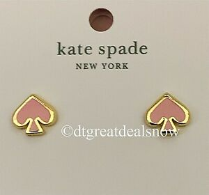 NEW Kate Spade Everyday Spade Enamel Studs Light Pink Gold Plated
