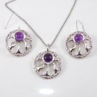 Sterling Silver Modernist Purple Amethsyt Earring Necklace Set LFB4