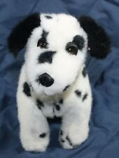 """Plush stuffed Dalmatian Puppy dog white black spotted 10"""" Sitting Lovey Toy A"""