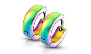 Stainless Steel Small Dome Hoop Huggie Earrings Pair 4 mm Wide 20 GA Men Women