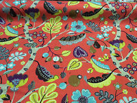 P/Kaufmann Enchanted Forest Red Basket Weave Upholstery Fabric By the yard