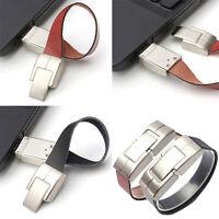 Leather Bracelet USB 2.0 Metal Flash Memory Stick Pen Drive Storage Thumb U Disk