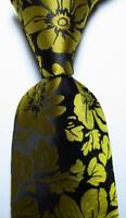 New Classic Floral Black Gold JACQUARD WOVEN 100% Silk Men's Tie Necktie