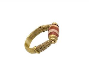 (3154)Antique chung dzi gzi carnelian bead set in new gold ring.Tibet China 唐时期