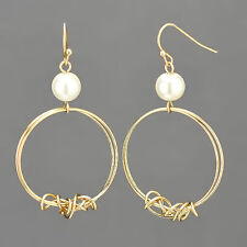 Gold Wire Circle Shaped White Pearl Dropped Fish Hook Style Earrings