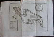 PLAN DE L'ISLE DE GORÉ AVEC SES FORTIFICATIONS, BELLIN, 1747 , SENEGAL OLD MAP