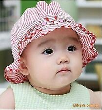 Baby Infant Girl kid Cute summer Cotton bunny rabbit bucket Sun hat Cap