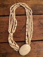 Carved Tribal Necklace Multi Strand Beaded Vintage Bovine Necklace Excellent