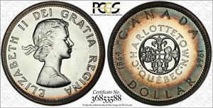 1964 CANADA 1 DOLLAR PCGS PL65 CONFEDERATION SILVER PROOF LIKE TONED COLOR RING