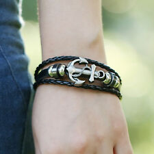 Mens Black Leather Anchor Wristband Bracelet Stainless Steel Clap Gift UK