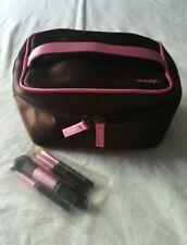 Mark Avon Satin Makeup Case w/Brushes Brown Pink Train Case Bag Lipstick