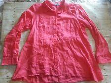 Elliott Lauren pink linen tunic button up blouse size 12
