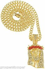 Jesus Necklace Iced Out Pendant 24 Inch 4mm Wide Cuban Link Chain