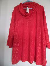 John Paul Richard Womens 3X Red Gold Embellished  Cowl Neck Tunic Shirt Top