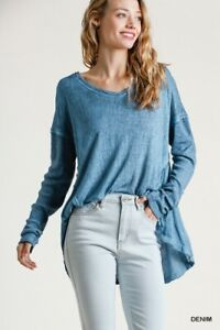 Umgee Blue Mineral Washed Ribbed Long Sleeve Top