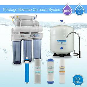 10 Stage Home Under sink Alkaline Reverse Osmosis RO Water Filter System 100GPD