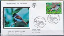 France 2002 Silk FDC, Birds, Mascarene paradise flycatcher (A99)