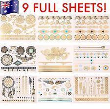FLASH TATTOO 9 Full Sheets Set - (124 Tattoos!) Metallic Foil Jewellery Tattoos!