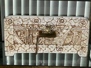 VINTAGE CHINESE HAND CARVED WHITE WOODEN JEWELRY CHEST BOX HONG KONG