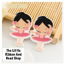 ✂ 4 ✂ PINK GIRL BALLERINA LASER CUT PLANAR RESIN FLAT BACK EMBELLISHMENTS