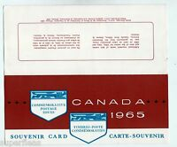 1965 Canada Postmaster General Souvenir Card #7 with postage stamps affixed