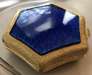 Vintage Christian Dior Star Compact In Gold Metal With Blue Inlay Circa 1970s