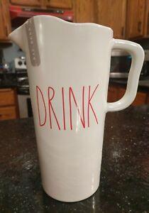 "RAE DUNN MELAMINE 9"" RED LETTER DRINK PITCHER CHIPS POPCORN MUG PLASTIC"