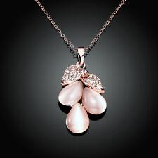 Wholesale 18K Rose Gold Filled CZ Crystal Opal Grape Pendant Necklace Gift