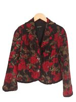 Escada Women's Silk & New Wool Blend Floral & Fruit Dress Blazer Jacket Size 36