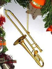 "GOLD BRASS TROMBONE 5"" MUSICAL INSTRUMENT CHRISTMAS ORNAMENT GIFT BOXED"