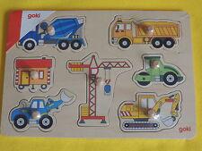 Holzpuzzle BAUSTELLE  Puzzle Holz GOKI Autos Bagger Kran Bauwagen Raupe Betonmis