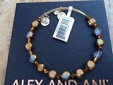 ALEX and ANI Glitz & Garland COCOA FLARE Crystal GOLD Beaded Bangle BRACELET