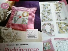 CROSS STITCH CHART FULL  ALPHABET CHARTS  ROSE  BUD VINTAGE STYLE FLOWER LETTERS