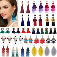 Women's Tassel Long Dangle Drop Ear Stud Earrings Bohemian Style Fashion Jewelry