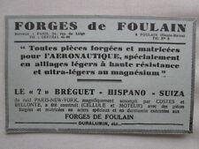 1932-33 PUB FORGES DE FOULAIN AERONAUTIQUE DURALUMIN ? BREGUET HISPANO FRENCH AD
