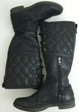 UGG #1013484 Waterproof Womens Quiltted Black Leather Knee High Boots Size 6.5