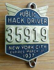 1937 Original New York City Public Hack License Driver Badge NYC Taxi Pin