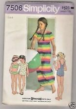 Childs Bathing Suit and Cover up in Two Lengths Simplicity #7506 Pattern Size 4