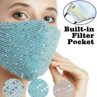 Sequin Bling Fashion Face Mask Reusable Washable Protective Mouth Cover