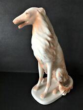 Hollohaza Porcelain Borzoi / Russian Wolfhound Dog Figurine - Hungary
